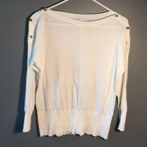 GAP Boatneck Sweater White Button Shoulder Dolman